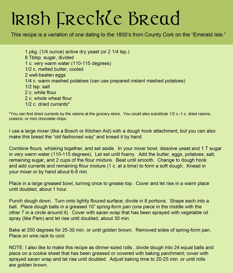 Irish Freckle Bread Recipe